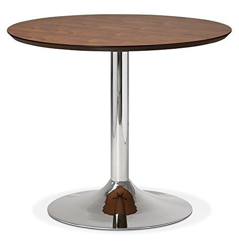 Alterego Petite Table de Bureau/à Diner Ronde 'Kitchen' en Bois Finition Noyer - Ø 90 cm