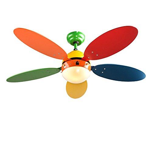 Decken Ventilator Zug Schalter Wohn Kinder Zimmer Lüfter Leuchte 3 Stufen Kühler Heizer Globo 03180 WADE I