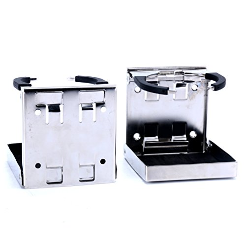 Amarine SeaLux 2pcs Stainless Steel Adjustable Folding Drink Holders Marine/Boat/Caravan/car
