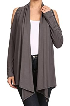 HEYHUN Women s Casual Relaxed Fit Cold Shoulder Asymmetric Cardigan - Cement