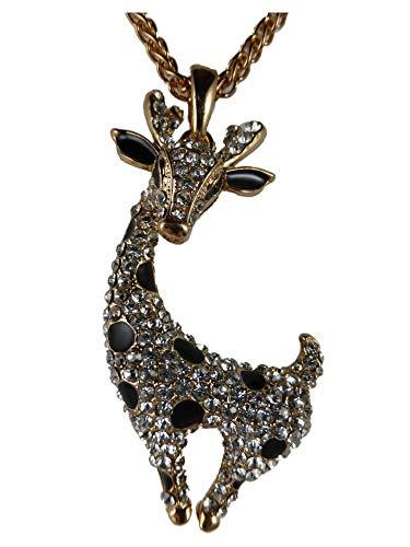 Halskette Kette Straß Stein kupferfarben Giraffe beweglich Zoo Comic 1544