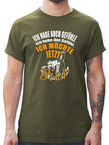 Sprüche - Ich Habe auch Gefühle Ich Habe das Gefühl ich möchte jetzt Bier - M - Army Grün - Bier Spruch Shirt Herren - L190 - Tshirt Herren und Männer T-Shirts