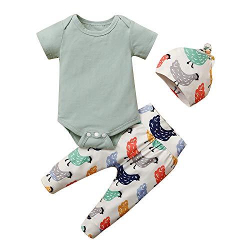 Shan-S Newborn Infant Baby Boys Girls Romper Bodysuit T-Shirt Top+Cartoon Chicken Printed Pants Hat 3PCS Outfits Set