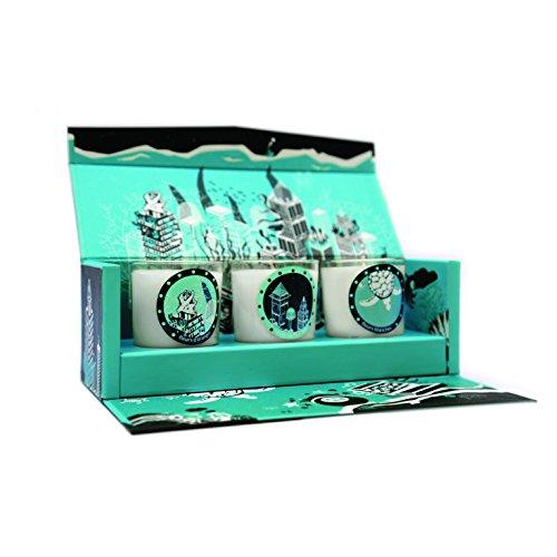 EBOUGIE - Bougie Parfumée Coffret 3 Bougies Bleu Atlantis 80Grs - 3 Senteurs