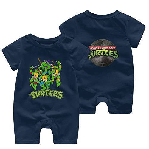 Mutant-Ninja Turtles Logo Newborn Baby Shortsleeve Body Suits Cotton Jumpsuit Navy 12 Months