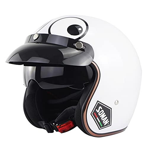 Open Face Motorcycle Helmet Retro 3/4 Motorbike Half Helmet for Men Women Scooter Classical Knight Bike Helmet with Detachable Brim Sun Visor DOT/ECE Approved White,M