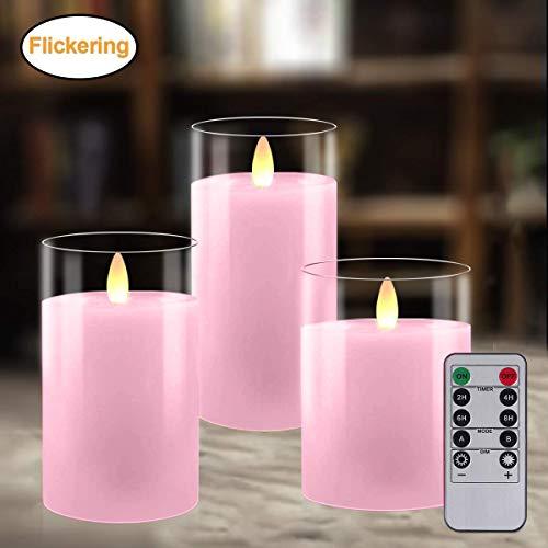 LED Kerzen 3er Pack, Flammenlose Kerzen, Flackernde Kerzen, Batteriebetriebene Kerze Echtwachs Stumpenkerze mit Zeitschaltuhr Fernbedienung für Haus Dekoration Hochzeit Deko, 10cm/12,5cm/15cm (Pink)