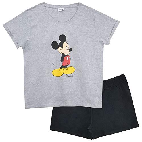 United Labels Mickey Mouse Schlafanzug kurz für Damen, Grau Schwarz, Pyjama Frauen Disney (M)
