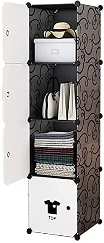 Armario XINYALAMP Almacenamiento Portátil Portátil para Tendedero Doblado Conjunto Dormitorio Montaje Plástico Gabinete Negro (Color : 4 Grids)