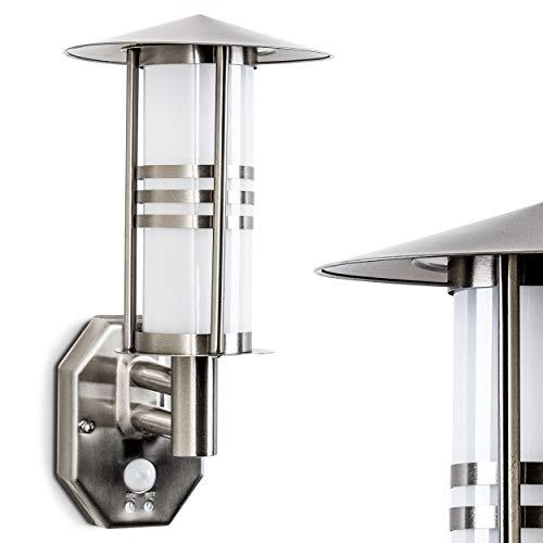 Buitenwandlamp Forli met bewegingsmelder, moderne wandlamp van roestvrij staal en matglazen ruiten, wandlamp met E27 aansluiting, max. 60 Watt, buitenlamp voor terras/tuin/tuin