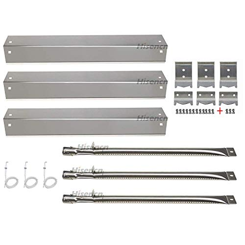 Hisencn Repair kit Parts Stainless Grill Burner Tube, Heat Plate Shield Tent, Hanger Brackets, Electronic Ignitor Replacement for Chargriller 3001, 3008, 3030, 4000, 5050, King Griller Gas Grill