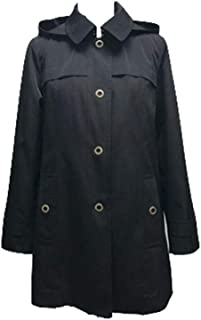 London Fog, Ladies Hooded, A-Line, Mini Trench (Rain) Coat, Black