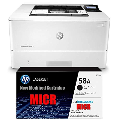 Ampro Laserjet M404N Check Printer MICR Check Printer Bundle with CF258A MICR / 58A MICR Starter Cartridge. (Prints 4500 Business Checks)