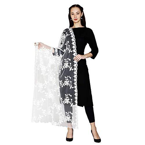 HARI MADHAV DESIGN Women's Nylon Net Embroidered Dupatta (White)