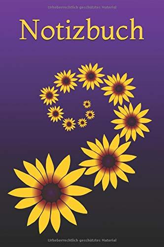 Notizbuch: Buch, Tagebuch, Schreibheft, Ideenbuch, florales Sonnenhut Blumen Cover, gelb, violett, Blumenranke, Punktraster, 15,24 x 22,86 cm, 6 x 9 Zoll
