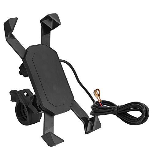 Telefoonhouder, motorfiets ATV-stuur E-montagestandaard ABS-materiaal met USB-oplader voor de meeste mobiele telefoons…