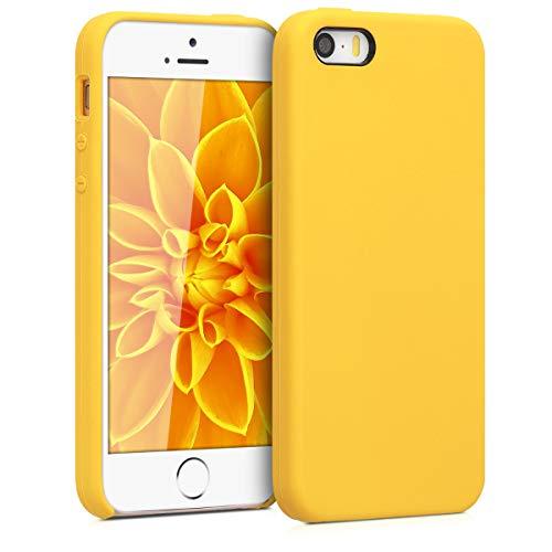 kwmobile Carcasa Compatible con Apple iPhone SE (1.Gen 2016) / 5 / 5S - Funda de Silicona para móvil - Cover Trasero en Amarillo Miel