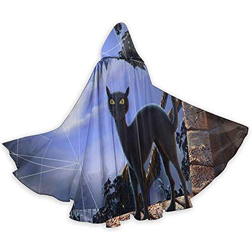 Zome Lag kat en spin in de vensterbank Halloween mantel Fancy Hooded Cape met trekkoord volwassen Cool Witch gewaad Extra lange partij Cape Zwart
