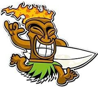 NI388 **2-Pack** Tiki surfer Sticker/Decal | Premium Quality Vinyl Sticker | 3.5-Inches by 3.5-Inches