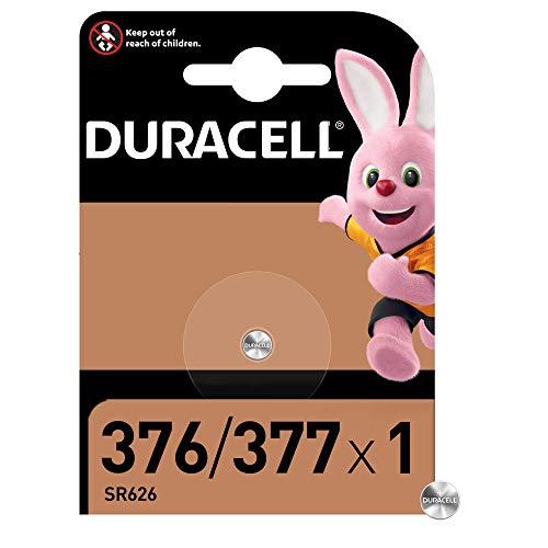 Duracell Pilas especial de óxido de plata 376/377 de 1.55 V, paquete de 1 unidad SR66/SR626/V377/V376/SR626W/SR626SW, diseñadas para su uso en relojes, calculadoras, dispositivos médicos, Cromo