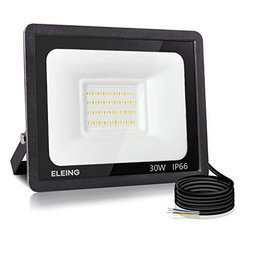 ELEING Proyector LED Exterior 30W 2400LM 6500K (Blanco Frío) Super Brillante Impermeable IP66 Resistente al agua Foco led para Porches, Garaje, Patio,Estadio