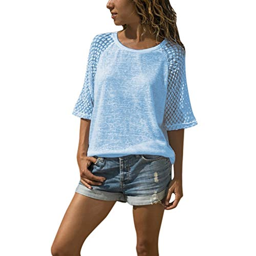Vimoli Blusen Damen Frauen Casual Tops Spitzen Stitching T-Shirt Rundhals Kurzarm Bluse(Blau,De-44/CN-3XL)