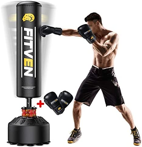 FITVEN Freestanding Punching Bag 70''-205lbs with Boxing Gloves Heavy Boxing Bag with Suction Cup Base for Adult Yout...