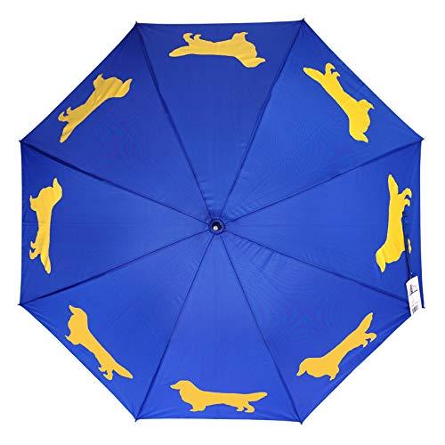 The San Francisco Umbrella Company Golden Retriever, Navy Blue/Gold, One Size