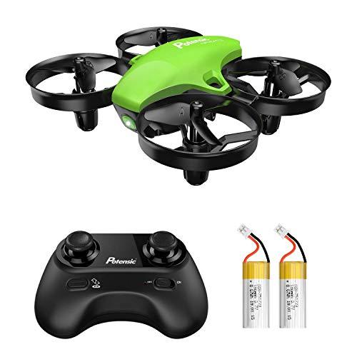 Potensic Mini Drone A20 con Due Batterie per Bambini e Principianti Quadricottero RC Drone Giocattolo Economico modalità Senza Testa con Telecomando Avvio e Atterraggio con Un Pulsante, Verde
