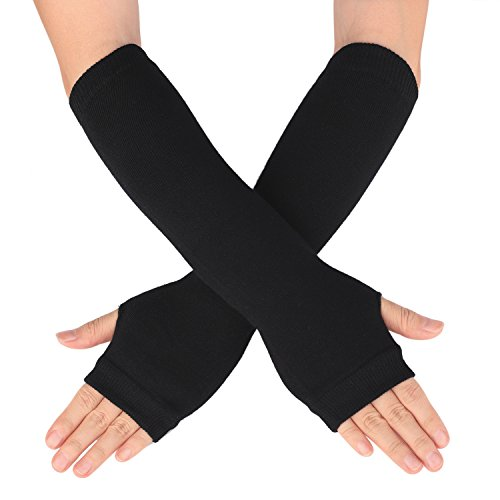 Flammi Women's Knit Arm Warmers with Thumb Hole Warm Fingerless Gloves Mittens for Halloween Party Daily Wear (Solid Black)