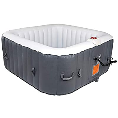 AquaSpa Portable 61X61X26 Inch Bubble Jet Spa 2-3 Person Portable Inflatable Square Outdoor Spa Hot Tub, One Size