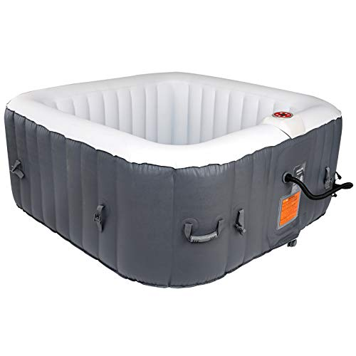#WEJOY AquaSpa Portable 61X61X26 Inch Bubble Jet Spa 2-3 Person Portable Inflatable Square Outdoor Spa Hot Tub, Grey, One Size