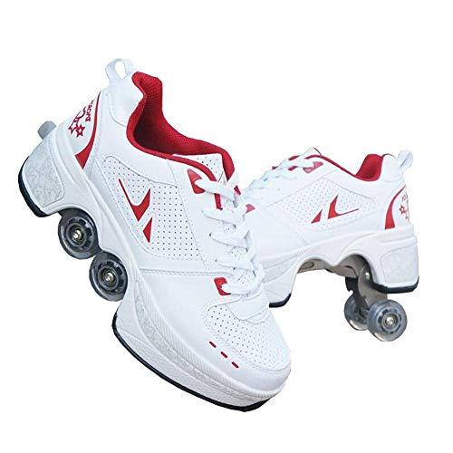 Hmyloz Verformung Rolle Schuhe Mit Doppelreihe Verformen Rad Zum Männlich Und Weiblich Draussen Sport Skaten Schuhe - Weiß Rot,37