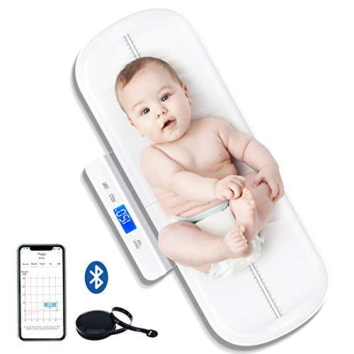 UNICHERRY Pèse-bébé Bluetooth, Balance bebe multifonctionnel avec plateau amovible, Pèse-bébé avec fonctions de tare et de maintien, application gratuite et piles (Max: 100 kg)