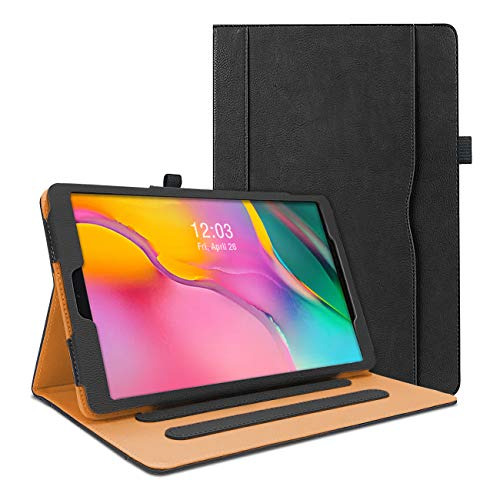 WeeYuu Hülle für Samsung Galaxy Tab A 10.1 Zoll 2019 T510 / T515, Hochwertiges PU Leder Smart Schutzhülle mit Standfunktion für Samsung Galaxy Tab A SM-T510/T515 2019 (Schwarz)
