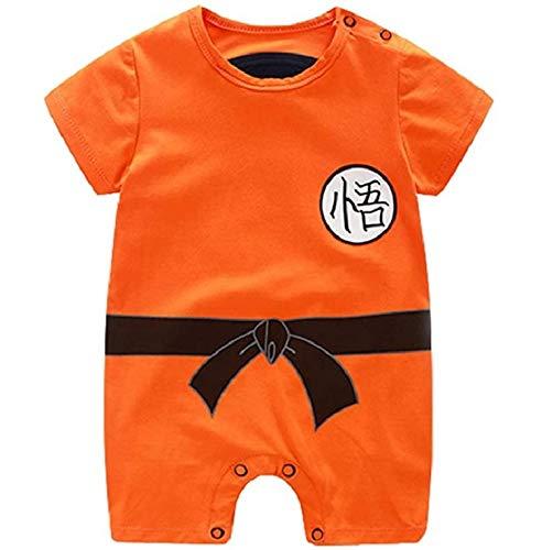 AHATECH Dragon Ball Z Design Baby Boys Girls Pagliaccetto Cosplay Costume Goku Ispirato Body Pigiama Bambino Tutine Vestiti (3-6 Mesi)