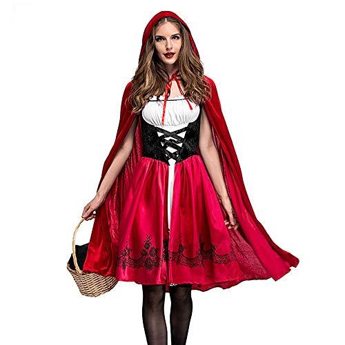 Millenniums Médiéval Déguisement Adulte Robe Châle Cosplay Le Petit Chaperon Rouge Costume pour Halloween Carnaval 2PC Robe + Cape à Capuchon (S)