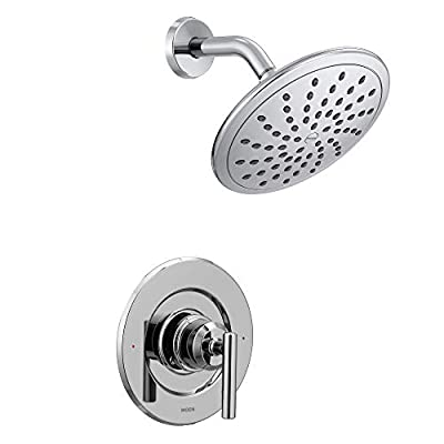 Moen T3002EP Gibson Posi-Temp Pressure Balancing Modern Shower Only Trim with 8-Inch Rainshower, Valve Required, Chrome
