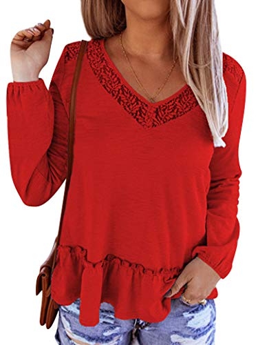 ZXZY Peplum Tops for Women Floral Lace V Neck Shirt Long Sleeve Cute Blouse Red