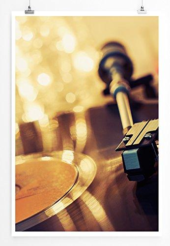 Eau Zone Home Foto - Art foto's - platenspeler met lichtketting - fotodruk in haarscherpe kwaliteit LEINWANDBILD gespannt 90x60cm