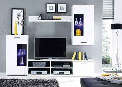AVANTI TRENDSTORE – Wohnwand mit LED Beleuchtung in weiß Dekor, ca. BHT 230x180x40 cm - 2