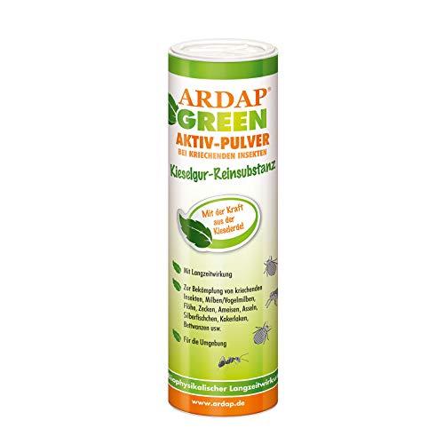 ARDAP Green Aktiv Pulver 100g - 100 Prozent reine Kieselgur gegen rote Vogelmilben, Bettwanzen & kriechende Insekten - Für Haushalt, Hühner & Tierhaltung