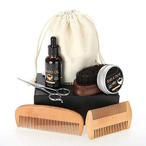Barbe Care, 7pcs Beard Care Set, Beard Care Kit Balm + Beard Oil + Comb + Brush + Scissor + Comb Bag + Cloth Bag
