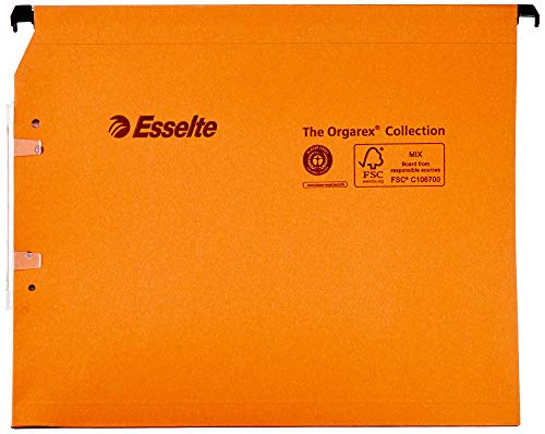 Esselte Group 21628 - Carpetas colgantes (25 unidades, lomo 15 mm para armario), color naranja