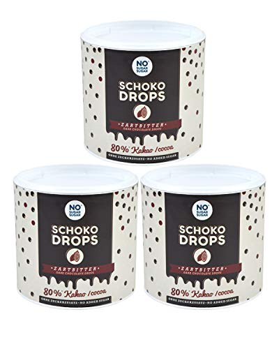 NO SUGAR SUGAR Schokodrops Zartbitter Schokolade mit 80% Kakao Anteil (3x250g) Hergestellt in Belgien ohne Zuckerzusatz, gesüßt mit Erythrit und Stevia nach Fairtrade-Standards gehandelt