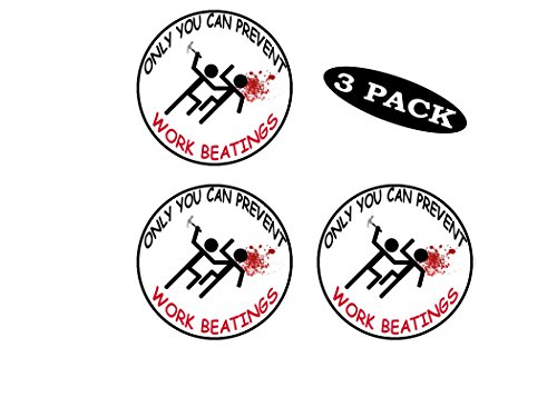 Rogue River Tactical 3 Pack Funny Hard Hat Sticker Only You Can Prevent Workplace Beatings Work Biker Helmet Decals Toolbox 2