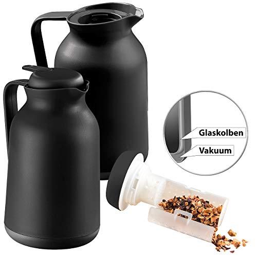 Rosenstein & Söhne Kaffeekanne Thermo: 2er-Set 2in1-Vakuum-Isolierkannen für Kaffee und Tee, mit Teesieb, 1 l (Teekanne mit Einsatz)