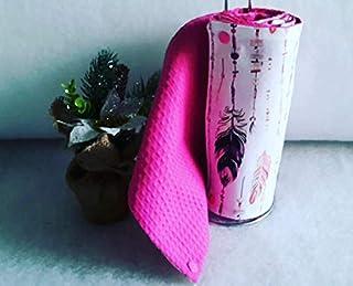 essuie-tout lavable, en coton et éponge, zéro déchet, motif plumes ton rose, idée cadeau fait main