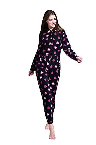 Airee Fairee Onesie Damen Jumpsuit Nachtwäsche Onesie Pajama Strampelanzug Schlafanzüge Overall Warm mit Kapuze (Kleine/EU 38, Herz-Muster) (Hersteller Grosse - S)
