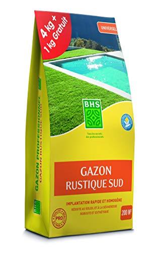 BHS GRSP4 Gazon Rustique Sud 5 kg | Soit 200 m² | Semences Enrichies en Engrais Organique pour Une Implantation Rapide Et Homogène, Fabriqué en France
